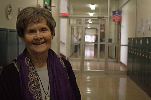 Patricia Hartshorn poses for a portrait in Saint Mark's Catholic School