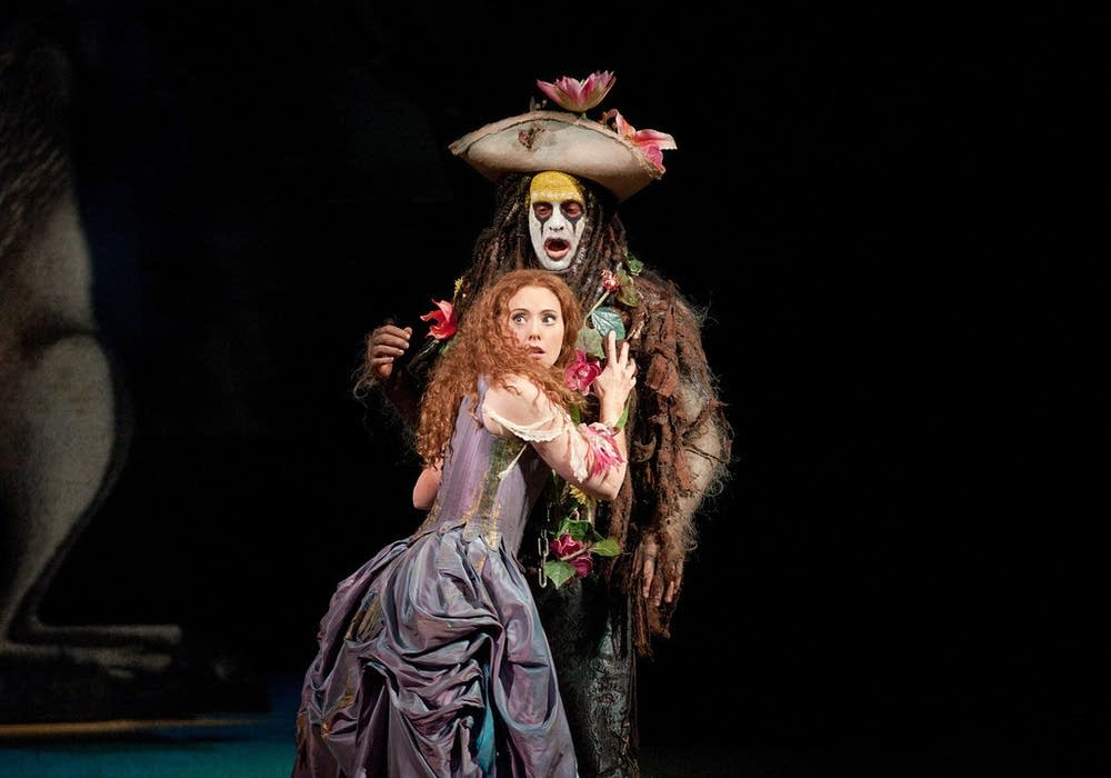 Claire as Helena and Pisaroni as Caliban