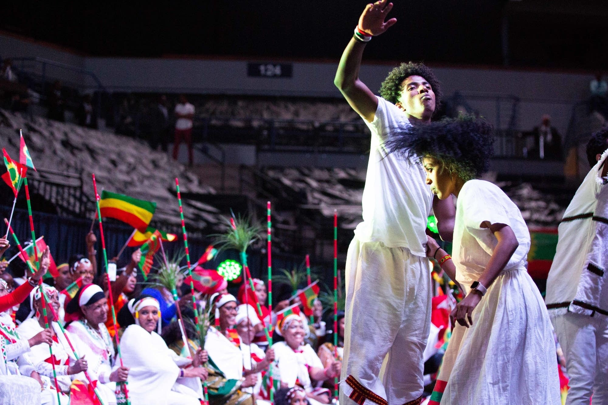 Dancers perform on stage for Ethiopian Prime Minister Abiy Ahmed.