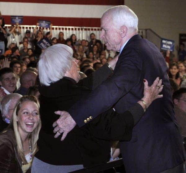 John McCain hugs a supporter in Lakeville