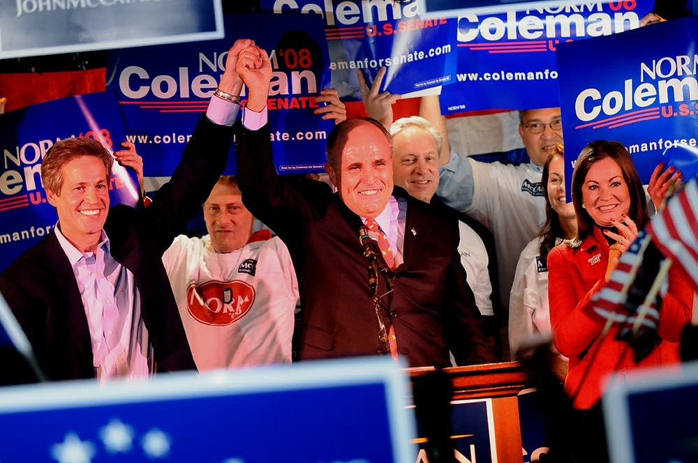 Rudy Giuliani campaigns with Norm Coleman