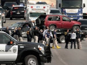 The car of the Austin bombing suspect is towed.