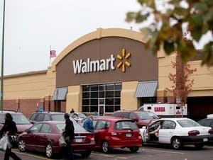 Customers outside Walmart.
