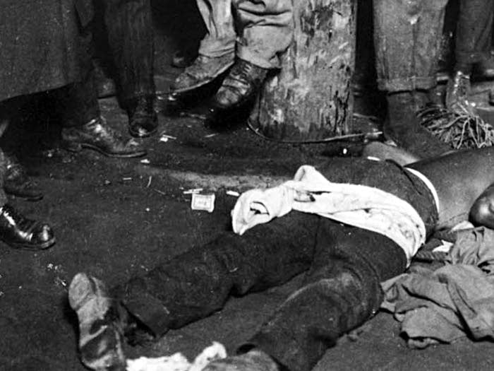 Detail of the Duluth lynching from the postcard, June, 1920.