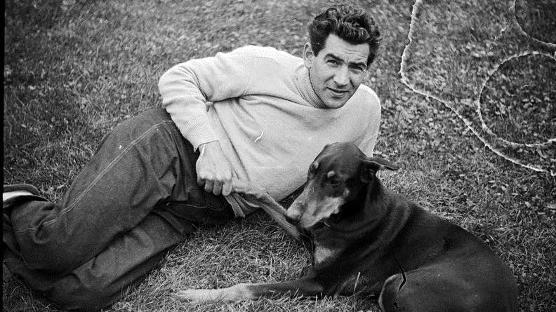 Leonard Bernstein and his dog