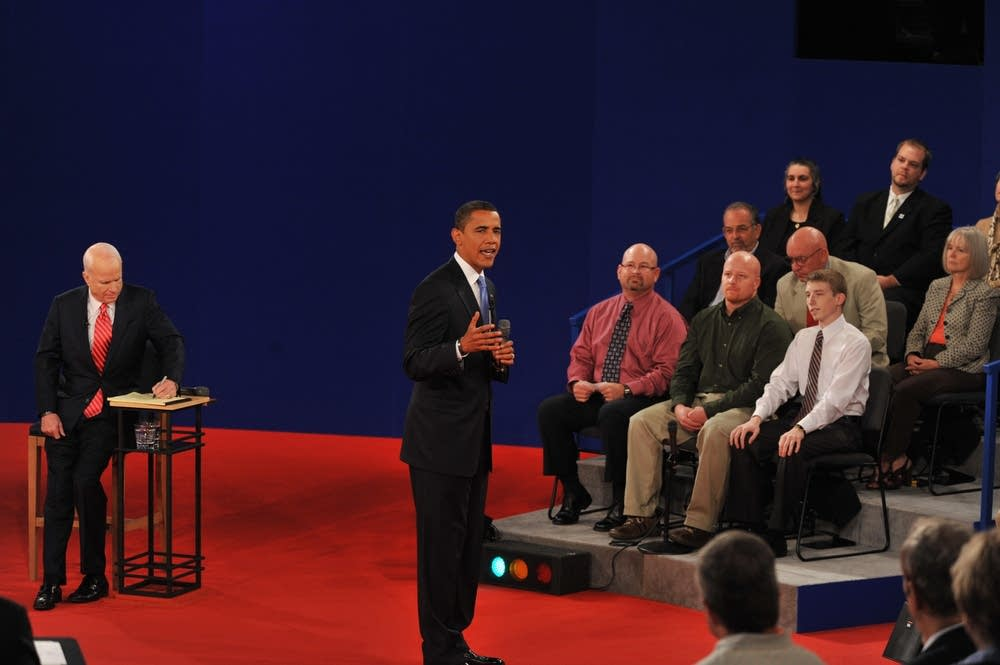Barack Obama answers a question at the debate