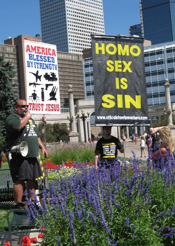 Demonstrators in Denver protesting homosexuality