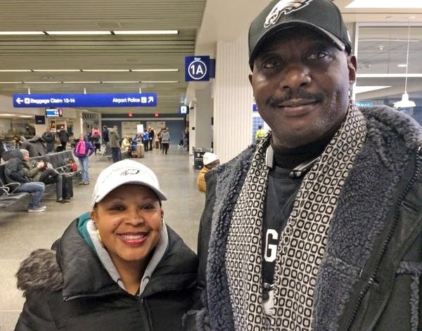 John Goode, a former NFL player, and his wife, Fatimah, arrived Thursday.