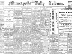 Page one of the first edition of the Minneapolis Daily Tribune