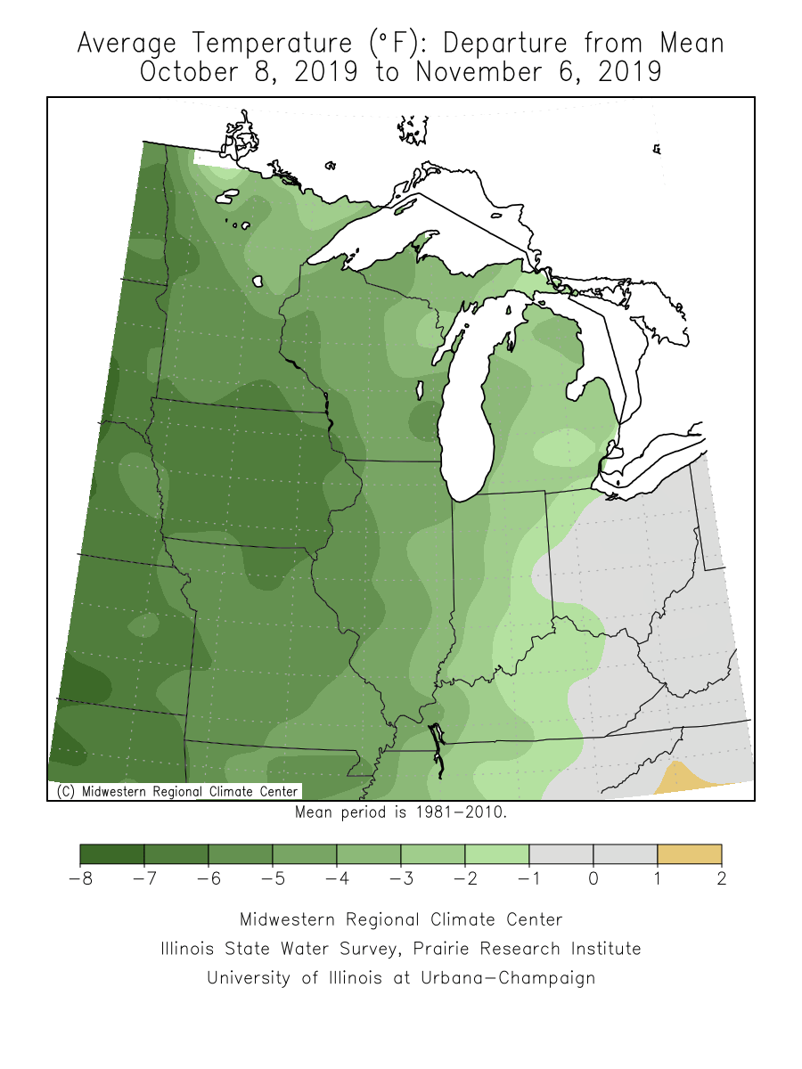 30-day temperature departure from average