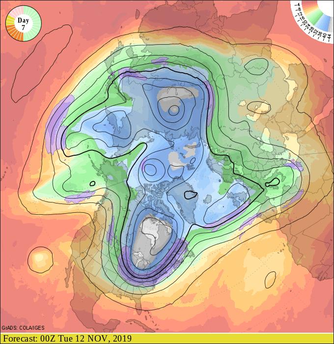 Upper air forecast map for 6 pm November 11