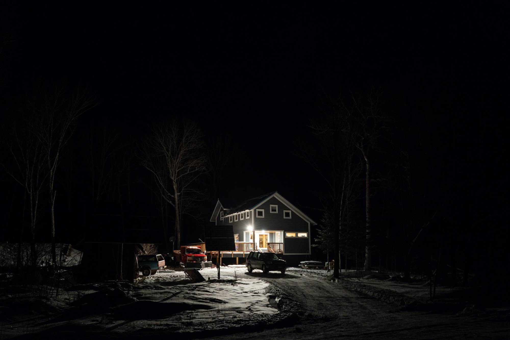 The Ibrahim familys home sits in the dark outside Grand Marais