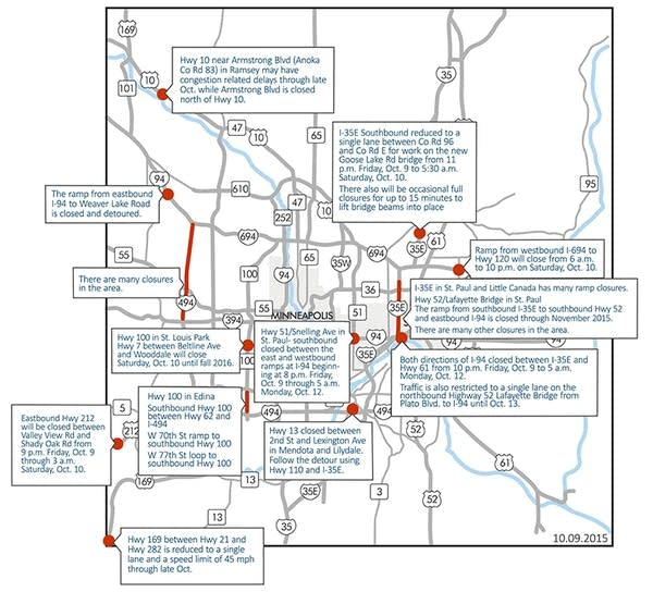 The weekend's road closures.