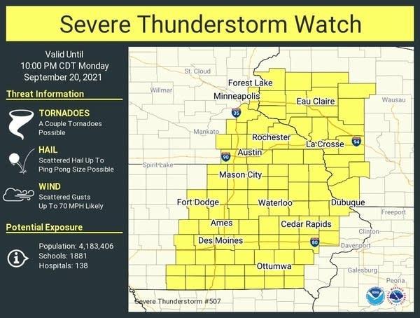 Severe thunderstorm watch until 10 p.m.