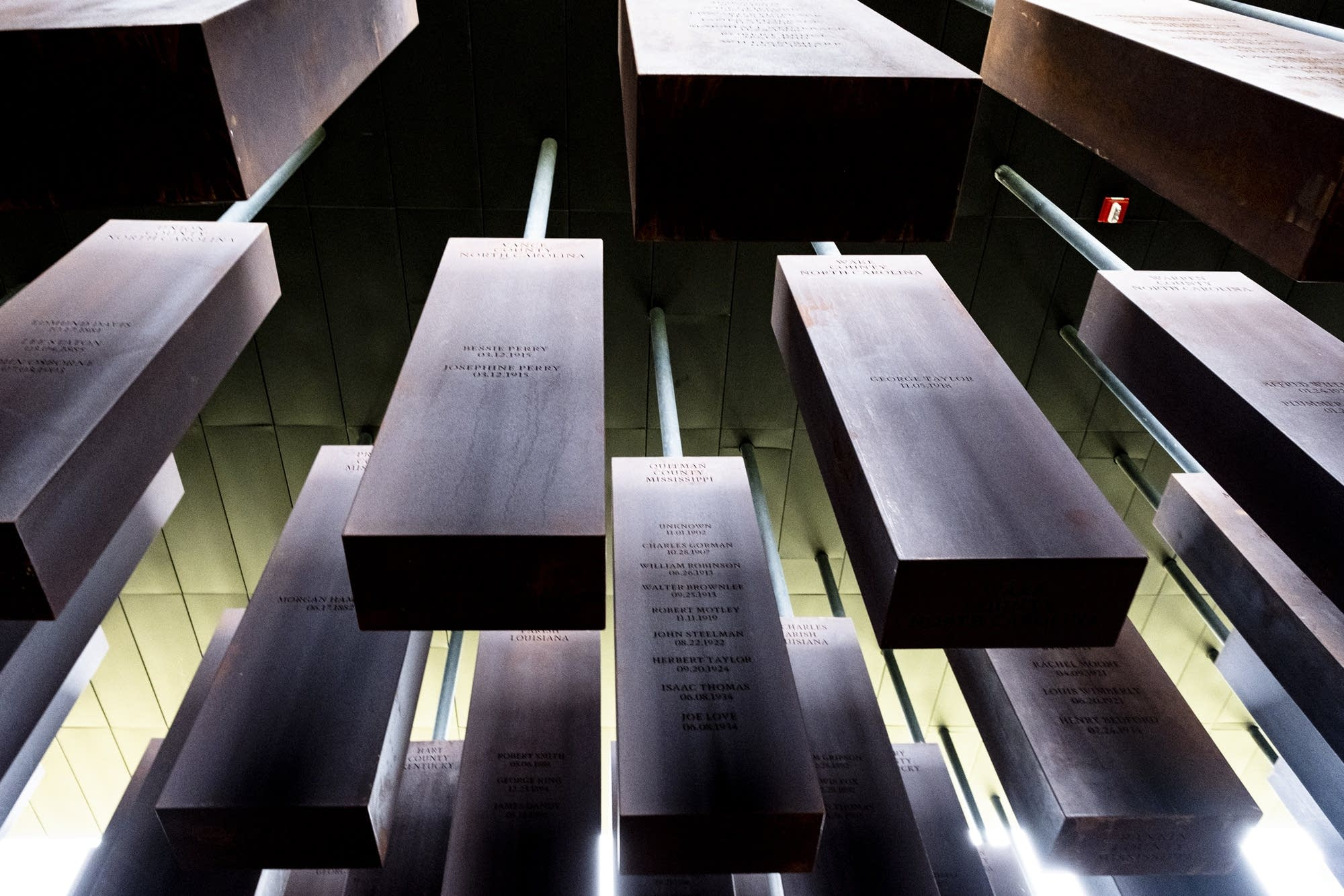 This is the National Memorial of Peace and Justice in Montgomery, Alabama. This is the pillar display to memorialize over 4, 000 lynchings of Black people.