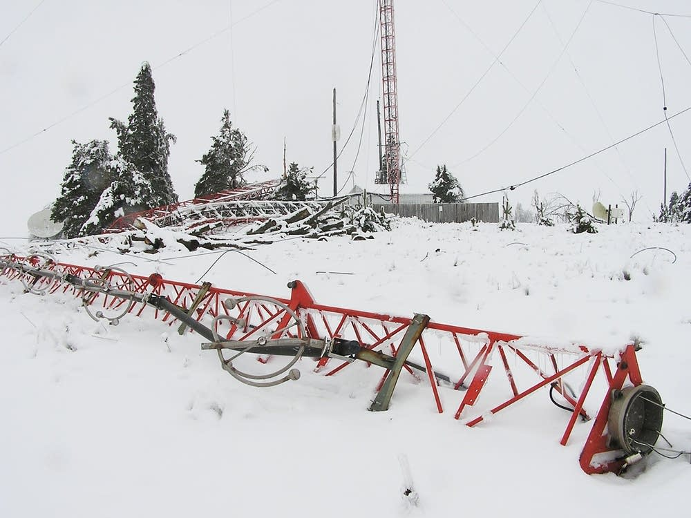 Toppled radio tower