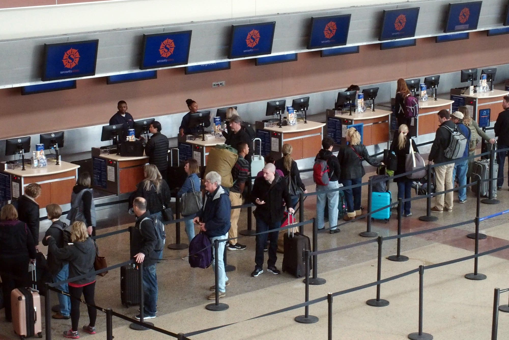 Lines moved briskly at MSP International on Monday morning.