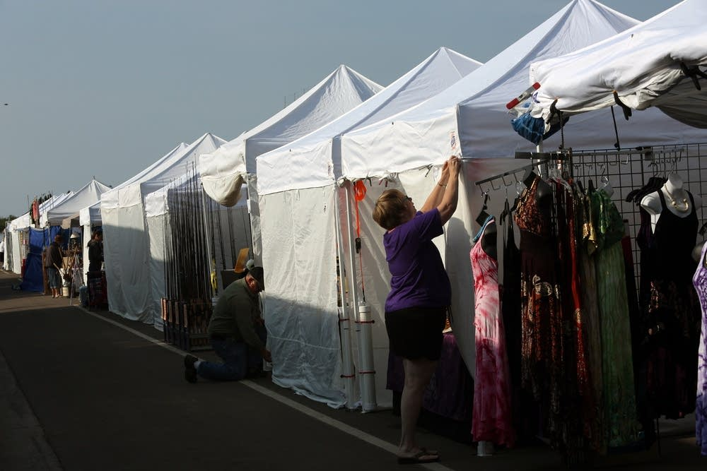 Arts and crafts tents get ready for the crowds
