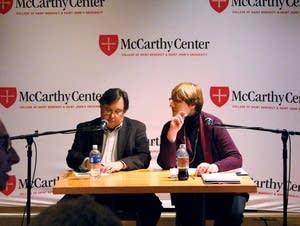 Econ professor Louis Johnston and Liz Fedor