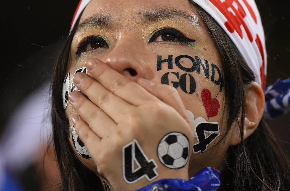 A Japanese fan cries