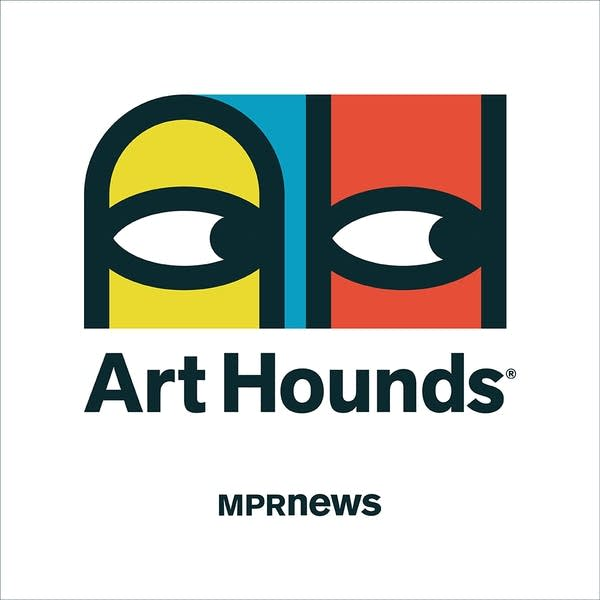 A logo with a drawing of eyes looking to the right.