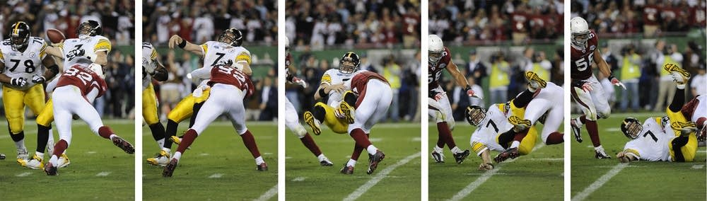 This five-image combo shows quarterback