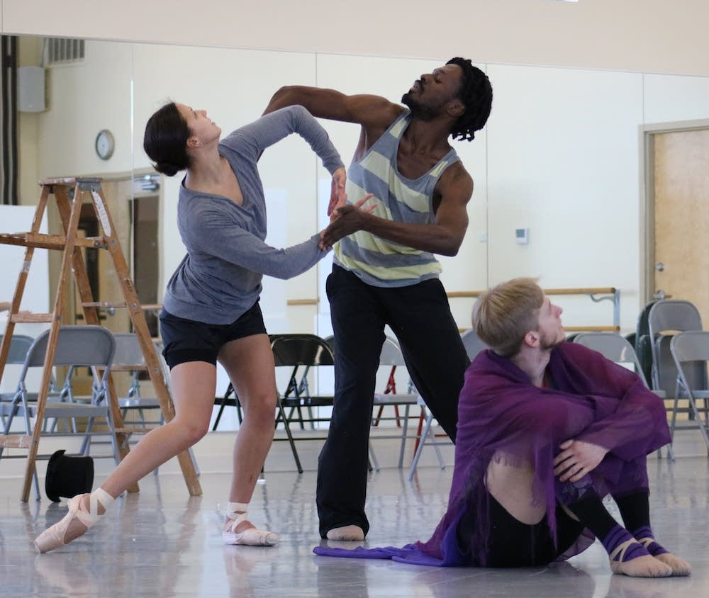 Marissa DeBenedictis, Demetrius McClendon and Luke Xavier rehearse.