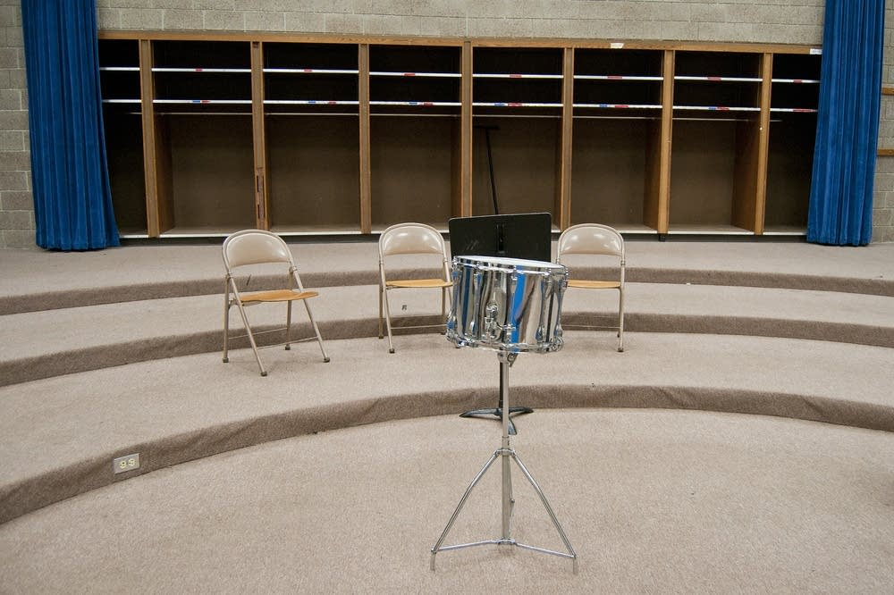 A snare drum sits in the old band room