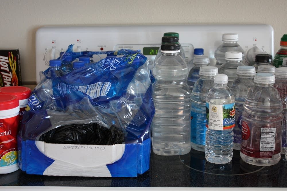 Recycled bottles store water