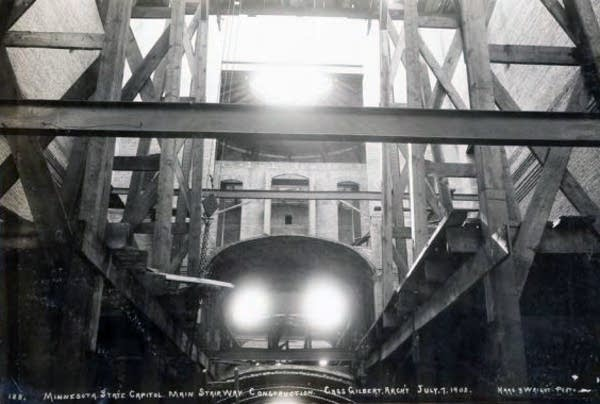 Main stairway construction, 1902