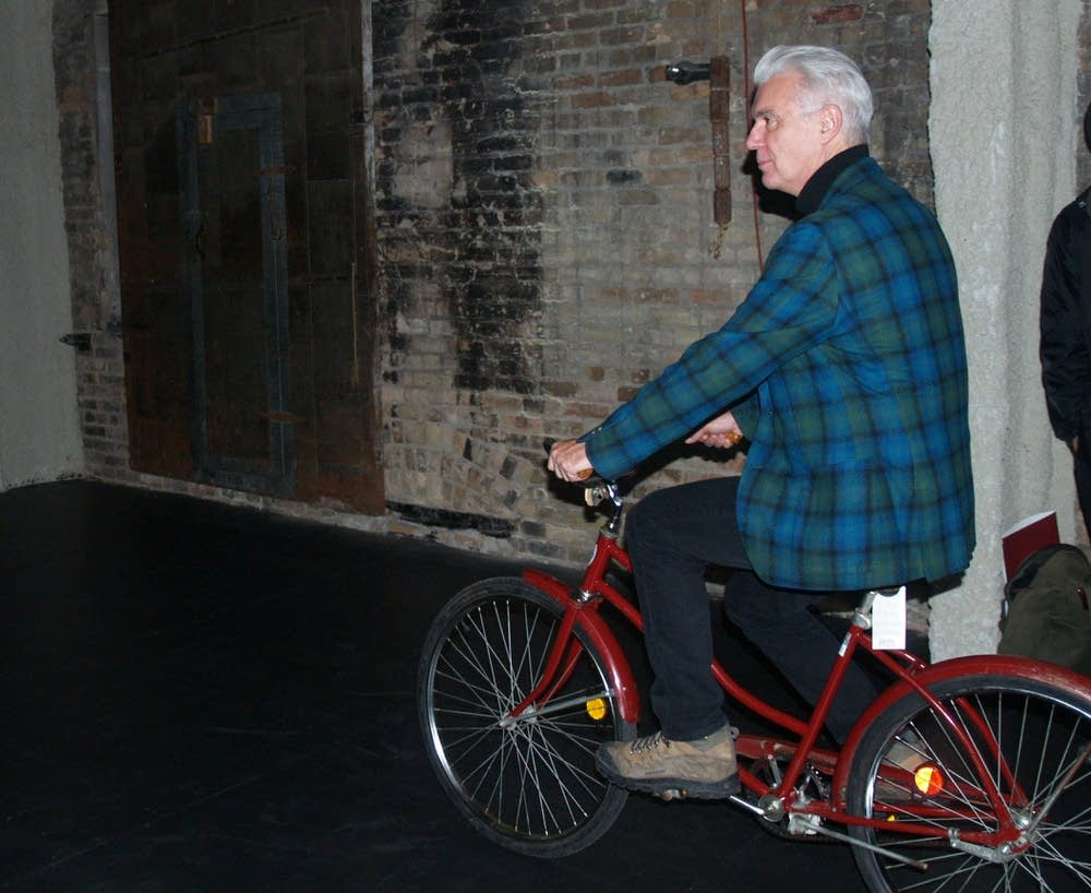 David Byrne on a bike