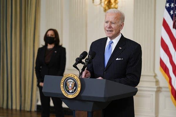 President Joe Biden, accompanied by Vice President Kamala Harris