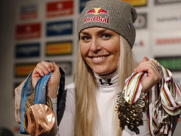 American skier Lindsey Vonn shows her career's worth of medals
