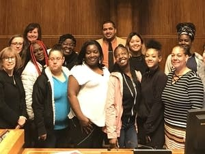 Members of Voices of St. Paul Youth and Families at St. Paul City Hall.