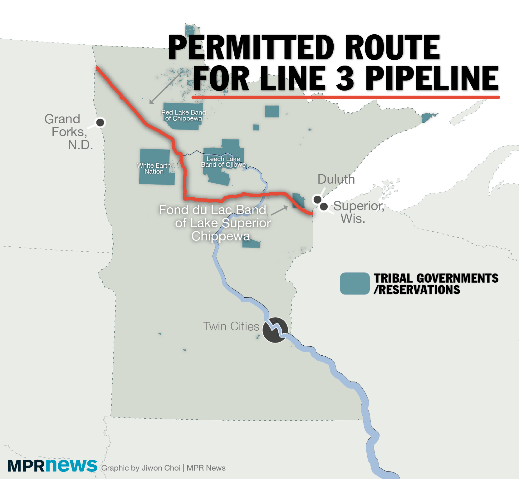 A map of the permitted route for the Line 3 pipeline