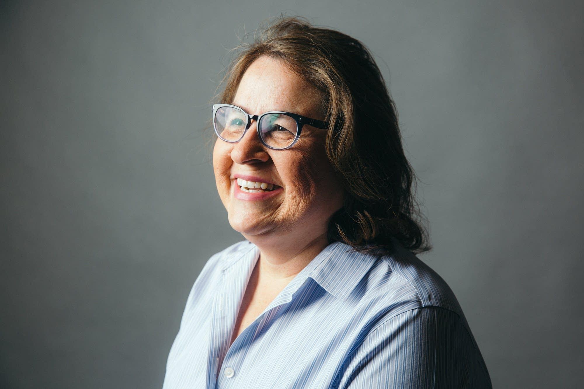 University of Minnesota professor Brenda Child sits for a portrait.