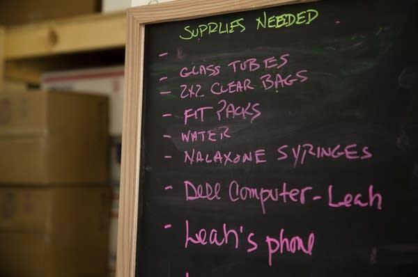 Notes written on a black board.