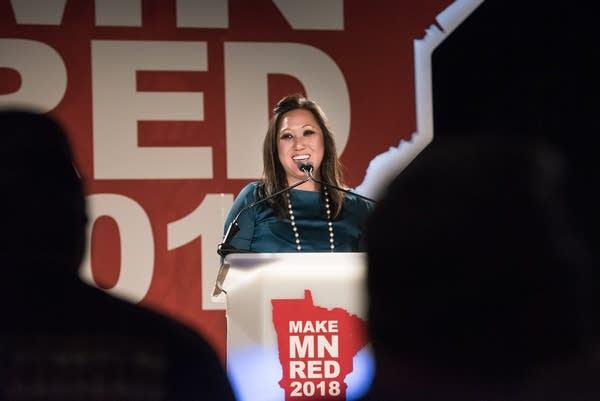 Minn. Republican Party chair Jennifer Carnahan greets the crowd.