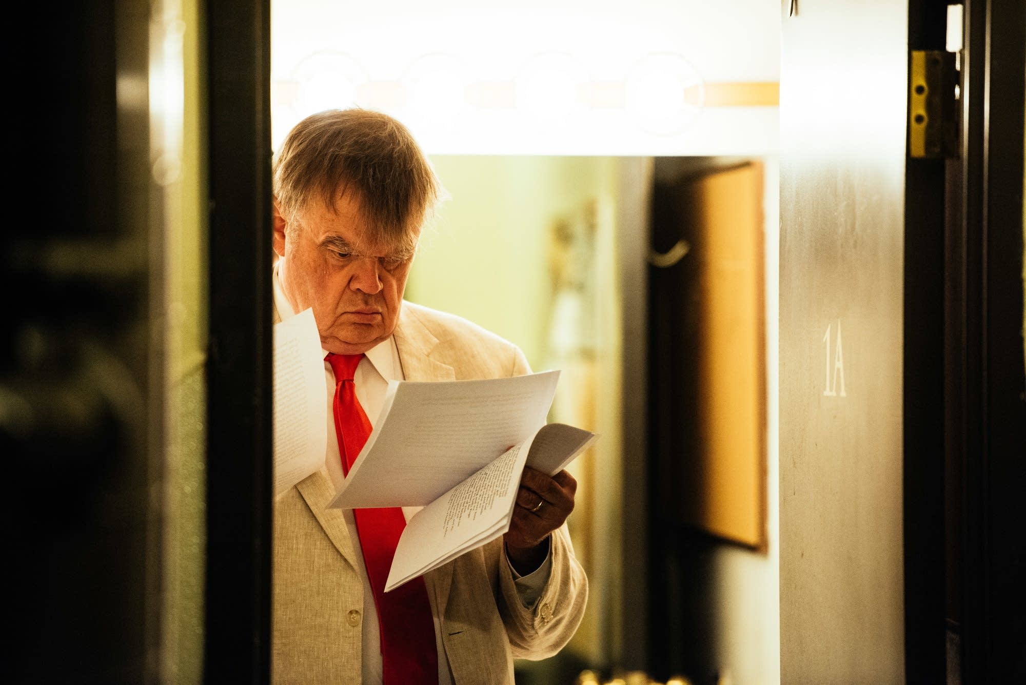 Keillor reads through scripts back stage at the Fitz on Feb. 27, 2016