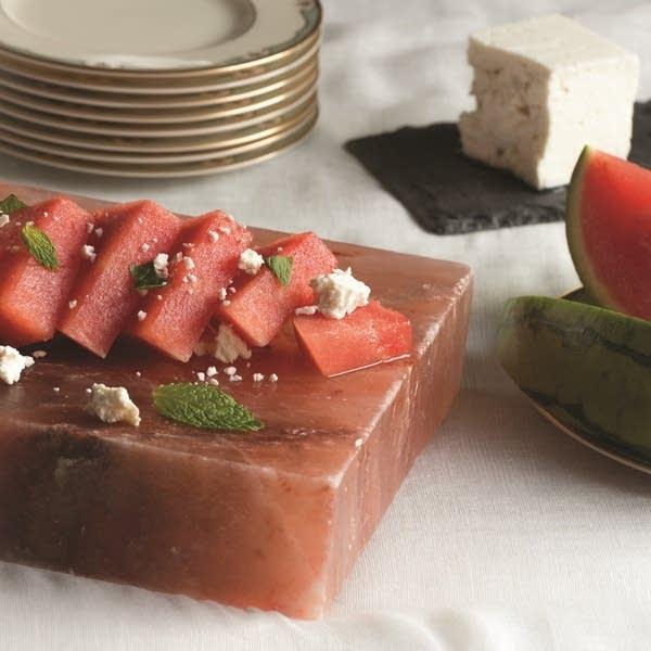 Watermelon and Feta on a Salt Block