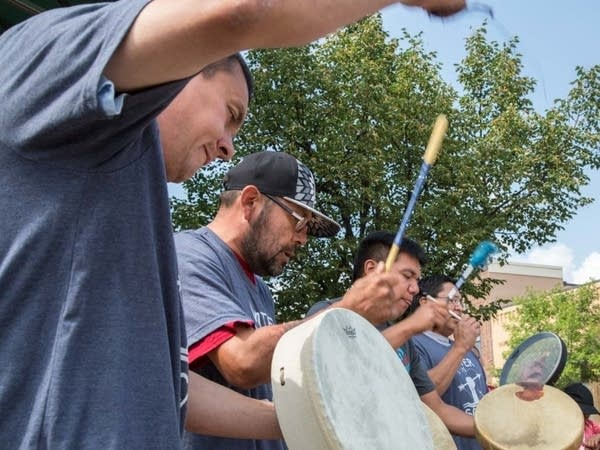Rodney Northbird (front) and other drummers perform.