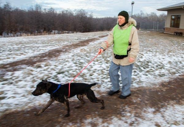 Shari Carlson walks Buddy, an American Shelter Dog.