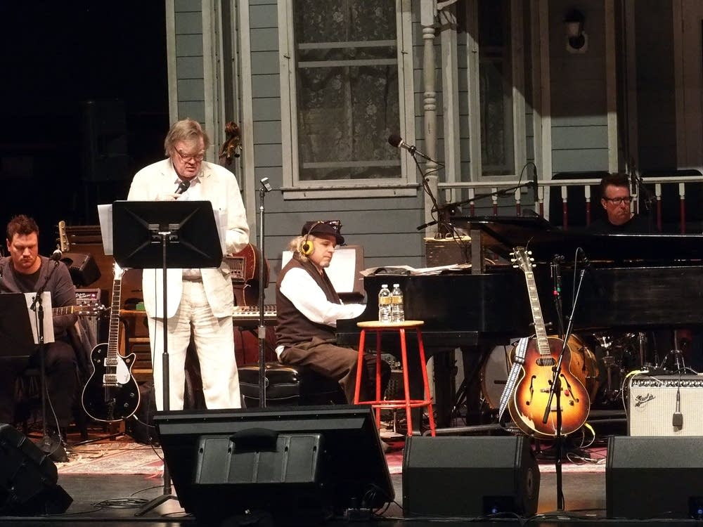 2:39 p.m. Saturday: Keillor and the band rehearse.