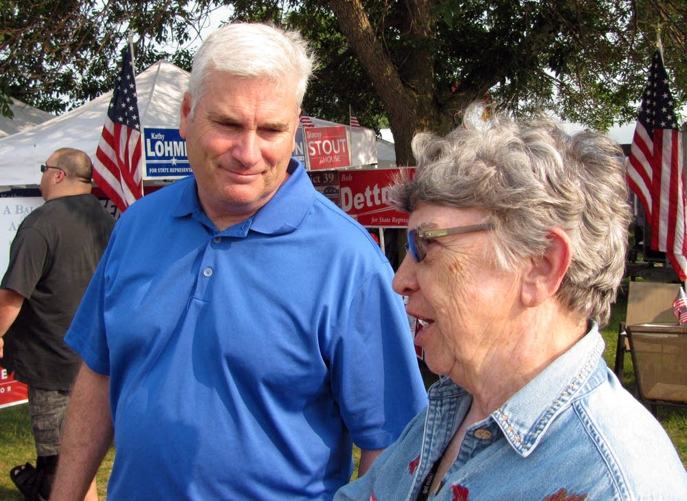 Tom Emmer spoke with supporter Joyce  Welander