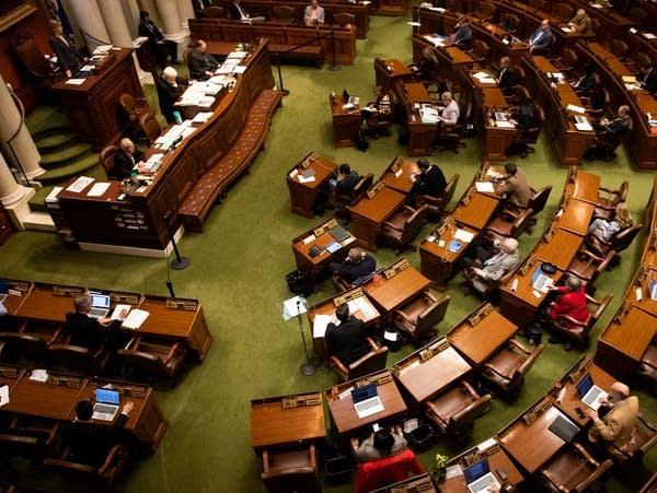 An overhead view of legislators at the Minnesota House