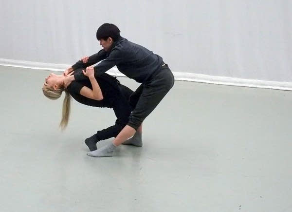 Jadyn Reddy and Austin Lam improvise a scene exploring the violence.