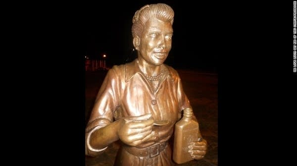 """Photo of  Celoron's controversial Lucille Ball statue, via the """"We Love Lucy! Get Rid of this Statue"""" Facebook page"""