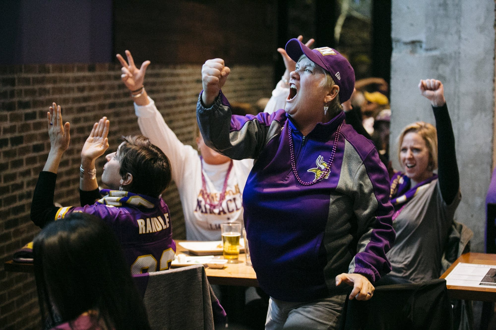 Brenda Olson cheers on the Vikings.