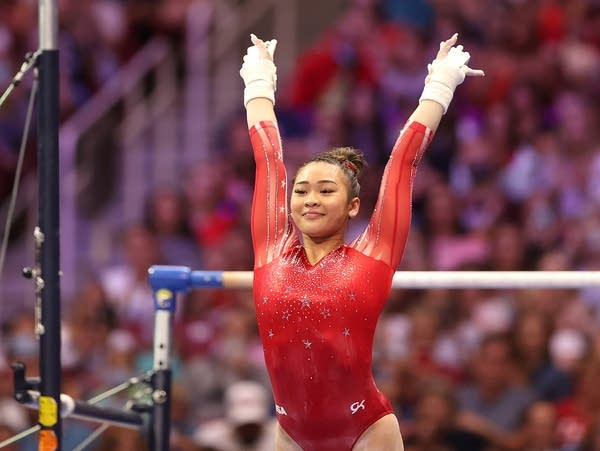 Gymnasts compete at a meet