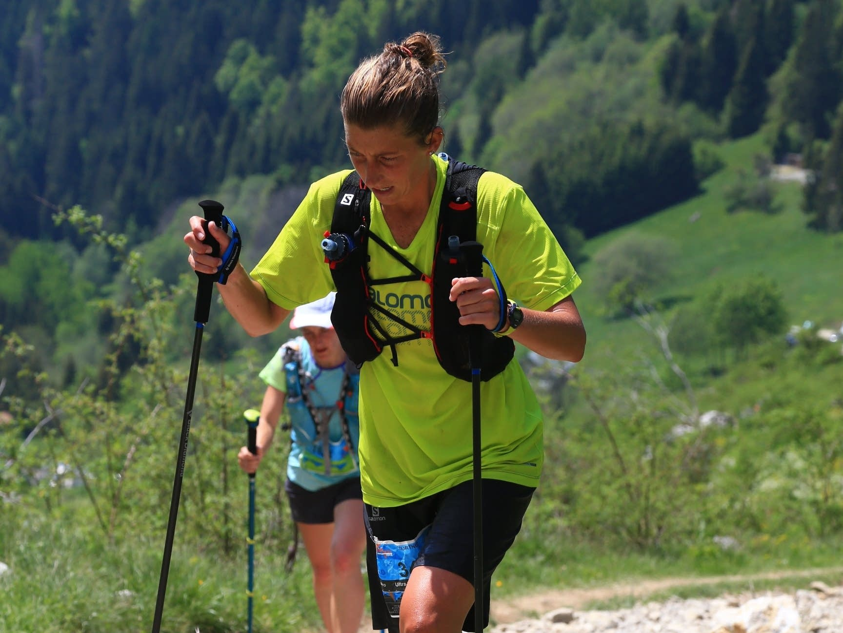 Courtney Dauwalter racing in Annecy, France at the Maxi Race 110 km.